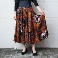 Leaf Pattern Flared Skirt BR