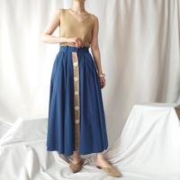 Front Button Bicolor Skirt BLBE