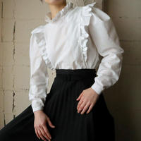 Side Button Frilled Blouse WH