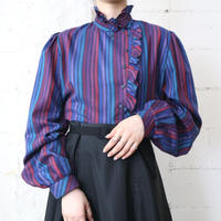 Frilled Collar Stripe Blouse PURBL