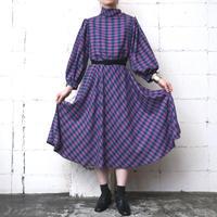 Turnover Collar Plaid Dress PINV