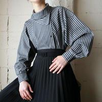 Asymmetric Design Stripe Blouse BKGR