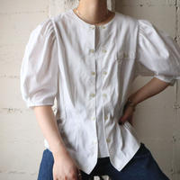 Double Button Volume Sleeve Blouse WH