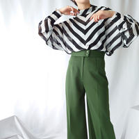 Stripe Turnover Collar Blouse BKWH