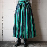 Front Button Stripe Flared Skirt GNNV