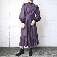 Velour Collar Stripe Dress PUR