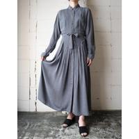 Stand Collar Stripe Dress BK GR