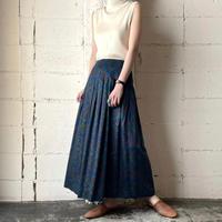 Arabesque Pattern Flared Skirt BL GN