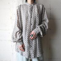 Small Pattern Band Collar Silk Shirt GR