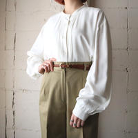 Pleated Front Band Collar Blouse IV