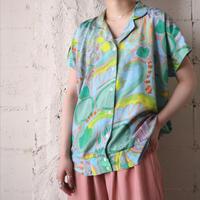 Open Collar Paint Pattern Blouse BL