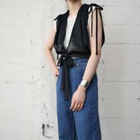 String Shoulder Pleated Vest BK