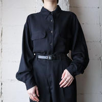 Design Button Rayon Shirt BK