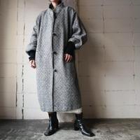 Knitted Cuff Herringbone Tweed Coat BKWH