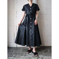 Open Collar Linen Dress BK