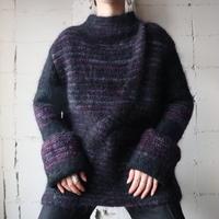 Mohair Mix Stripe Design Sweater PUR