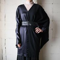 Gather Shoulder Design Dress BK