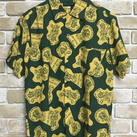 "NorthNoName(ノースノーネーム)-NNN PATCH PATTERN RAYON SHIRTS ""WOLF&WOLFLESS""(GREEN)"