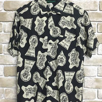 "NorthNoName(ノースノーネーム)-NNN PATCH PATTERN RAYON SHIRTS ""WOLF&WOLFLESS""(BLACK)"