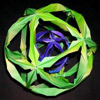 折り紙で作るくす玉の折り図「シャム」