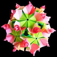 折り紙で作るくす玉の折り図「星月夜 デコレーションパーツ」