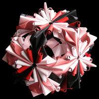 折り紙で作るくす玉の折り図「ふたつのアラベスク」