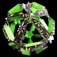 折り紙で作るくす玉の折り図「幻月」