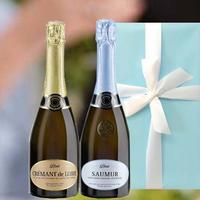 送料無料 スパークリングワイン 2本 ギフトセット フランス ソミュール ロワール ブリュット&クレマン・ド・ロワール・ブリュット750ml×2  ラッピング付 のし可(OG99-JSAUCRL)