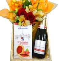 【送料無料】シャンパンとお花、お菓子のギフト フランス シャンパーニュ 辛口 750ml 生花アレンジメント ラズベリータルトクッキー 誕生日結婚祝い(OG45-156010)