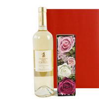 フランス オーガニックの白ワインとバラのプリザーブドフラワーボックス