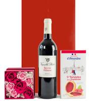 夏贈り物【お花とスイーツ・赤ワインのギフト】 南フランス ドメーヌ・ベロ「ルージュ・パッション」バラのプリザーブドフラワー ラズベリータルトクッキー 詰め合わせ (OG45-BER1910)