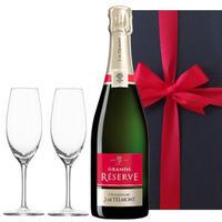 ペアギフト 2人で楽しめる【シャンパンとグラスセット】フランスの辛口シャンパン「グラン・レゼルブ・ブリュット」、750ml、ペアシャンパングラス、ギフトボックス入り(OG25-156600)