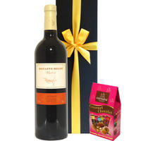 ホワイトデー 赤ワイン チョコレート ギフト フランス 「ドメーヌ・ベロ 」メルロー 辛口 750ml チョコ アソート 3種 アーモンド コーヒー豆 (OG15-109322-N)