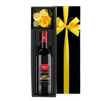 誕生日プレセント【ワインとお花のギフト】プレゼント 送料無料 マキシム・ド・パリ 赤ワイン 「ル・バロン・デ・クロ」フランス ボルドー 辛口 375ml 男性  女性 OG35-MBCHYF)