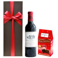 父の日プレゼント スイーツ ワイン ギフト 赤ワイン フランス ボルドー 「シャトー・ミュッセ」 2015年 375ml モンバナ ナポリタン チョコレート 12枚入り(OG45-BMMNC)
