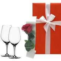 《母の日ギフト2021》【グラスとお花のギフト】ドイツのシュピゲラウ「オーセンティス」ワイングラスと一輪挿し付きプリザーブドフラワー《選べるお花:赤・黄色》(OG00-TWGSR)