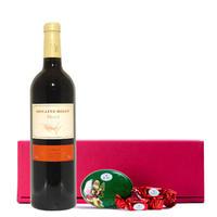 送料無料【赤ワインとスイーツのクリスマスギフト】 フランス ラングドック・ルーション メルロー 750ml ハイデル チョコレート缶 誕生日 (OG15-321BEML)