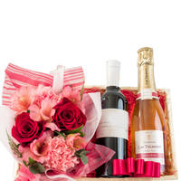 《おすすめ》【お花とワインのギフト】フランスの赤ワインとロゼシャンパン ハーフボトル×2本 赤い薔薇とピンクのカーネーションのフラワーアレンジメント(OG35-212157)