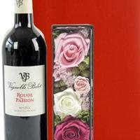 女性に喜ばれる贈り物 バラのプリザーブドフラワーボックスと南フランスの赤ワイン ラッピング付 熨斗可能