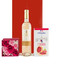 【ワインとお花,お菓子のギフト】フランス オーガニックロゼワイン ラズベリータルト バラのプリザーブドフラワーボックス ギフトセット 結婚祝い  誕生日(OG45-DAR1910)