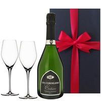ペアギフト 2人で楽しめる お酒 ギフト スパークリングワインとペアグラスのセット フランス シャンパン製法 レ・コードリエ・ブリュット 750ml シャンパングラス(OG25-625175)