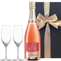 ワイン ギフト ロゼシャンパンとペアグラスのセット フランス シャンパーニュ グラン・ロゼ・ブリュット 750ml  結婚祝い 記念日 誕生日 お礼(OG25-157600)