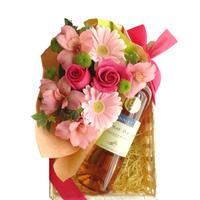 【お花とロゼワインのギフト】バラ フラワーギフト ロゼワインとお花のギフト 南フランス サン・シニアンのロゼワインとフレッシュなピンク色のフラワーアレンジメント(OG35-W020110)