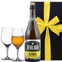 《結婚祝い》【ビールとグラスのギフト】クラフトビール フランス「ジャンラン・ブロンド」750ml大瓶とドイツのペアグラス(OG26-750151)