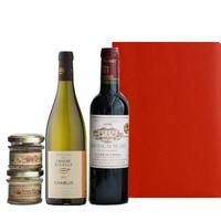 ワインとおつまみギフト ボルドー ブルゴーニュ 赤白ワイン 375ml 2本 オーガニック テリーヌ 45g×2個 包装つき 箱入り