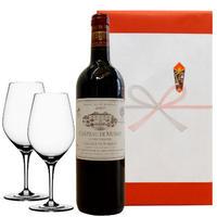 【ワインとグラスのギフト】 洗練されたのボルドーワイン、ポムロール 2007年とペアワイングラス(OG25-007944)