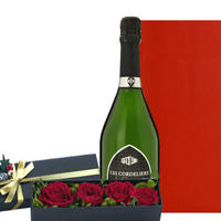 母の日 お花 お酒 フランス スパークリングワイン バラ プリザーブドフラワー Les Cordeliers Exclusive Brut 750ml 記念日 (OG35-627X18)
