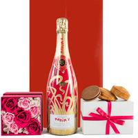 【送料無料】お花とシャンパン、スイーツギフト ピンクのバラのプリザーブド フラワーボックス 人気店 レ・カカオ 焼菓子 フランス「マキシム・ド・パリ」の高級シャンパン(OG45-MPBC19)