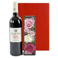 女性に喜ばれる贈り物【赤ワインとお花のギフト】バラのプリザーブドフラワーボックスと南フランスの赤ワイン ラッピング付 熨斗可能(OG35-BERP19)