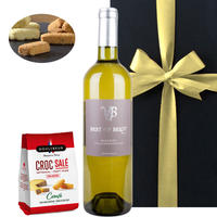 《お祝い》【ワインとおつまみのギフト】 南フランスの白ワイン『ドメーヌ・ベロ 』「ベスト・オブ・ベロ」と『クーリーブス』チーズ入りサブレ(OG15-BEBCSC)